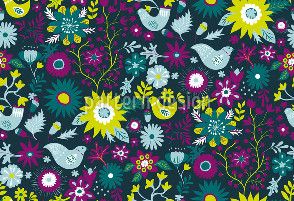 Birds in the Forest Repeating Pattern