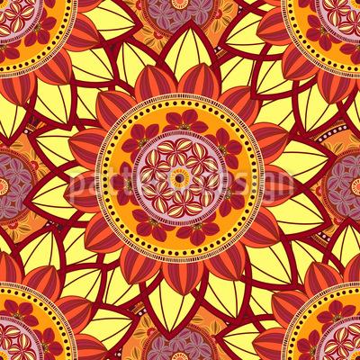 Orientalische Sonne Mandala Rapportmuster