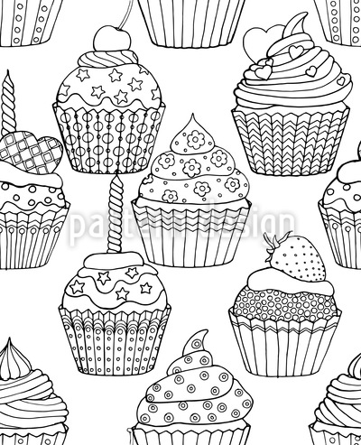Sweet Decorated Cupcakes Vector Ornament
