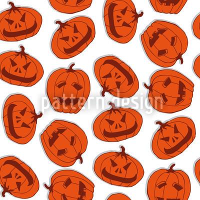 Pumpkin Heads White Pattern Design