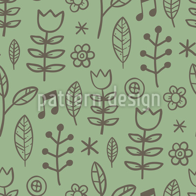 Singing In The Meadow Seamless Pattern