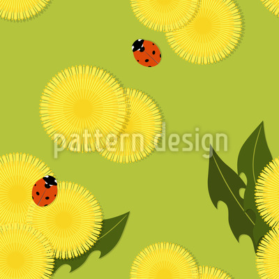 Dandelion And Ladybug Repeat Pattern