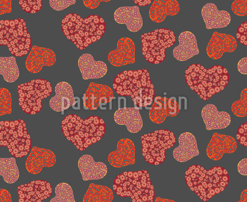 Lava Hearts Vector Ornament