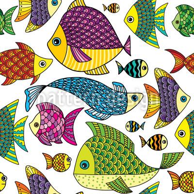 Doodle Meeresfische Muster Design