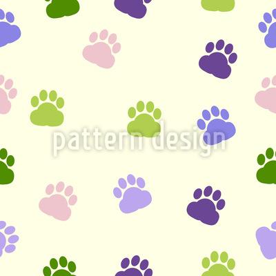Pfotenabdruck Nahtloses Vektor Muster