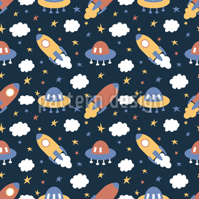 Rockets And Clouds Seamless Vector Pattern