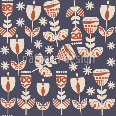 Russian Folklore Flowers Vector Pattern