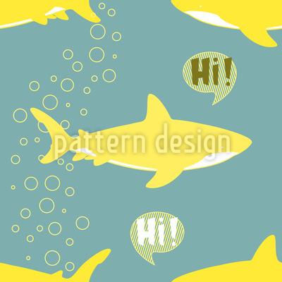 Weisser Hai sagt Hallo Nahtloses Vektor Muster