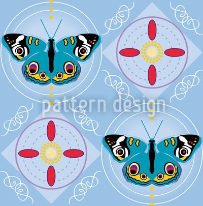 Peacock Butterfly Blue Design Pattern