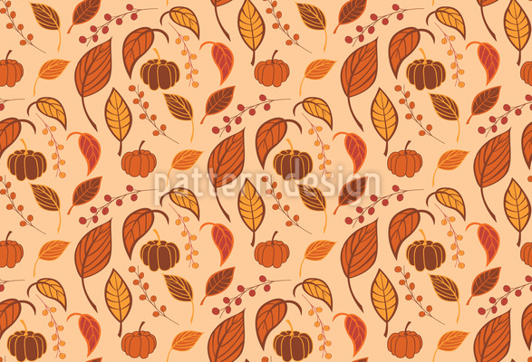 Leaves and Pumpkins Seamless Pattern