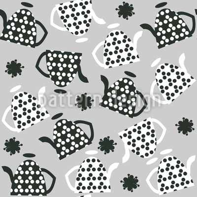 Teapots With Dots Seamless Pattern