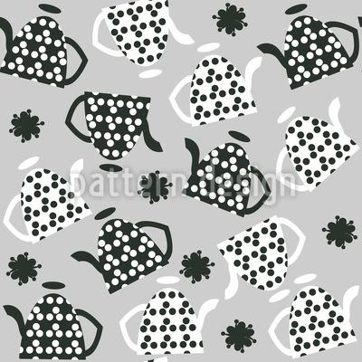 Teekannen mit Punkten Nahtloses Muster