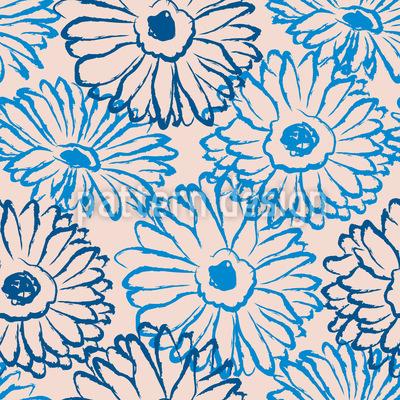 Hand Drawn Daisies Pattern Design