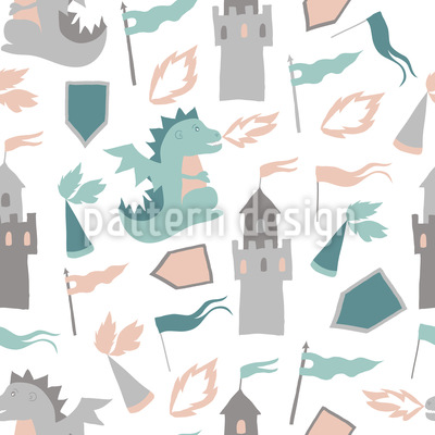 Dragon and Castles Seamless Vector Pattern