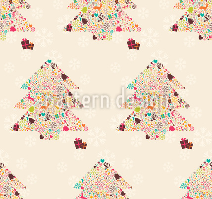 Decorated Christmas Trees Vector Ornament