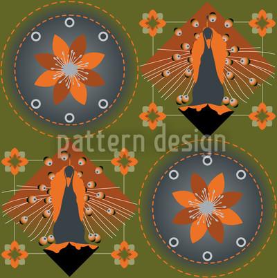Pfau und Blüten Grün Muster Design