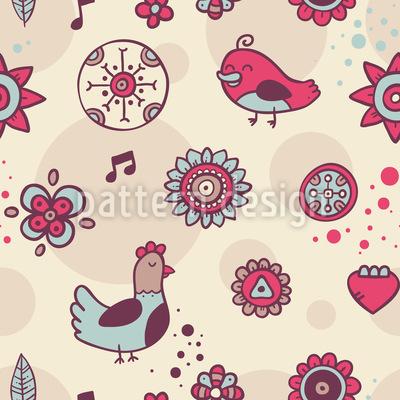 Tauben und Singvögel Vektor Muster
