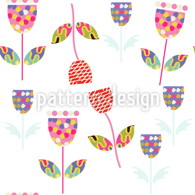 Patchwork Flowers Seamless Vector Pattern