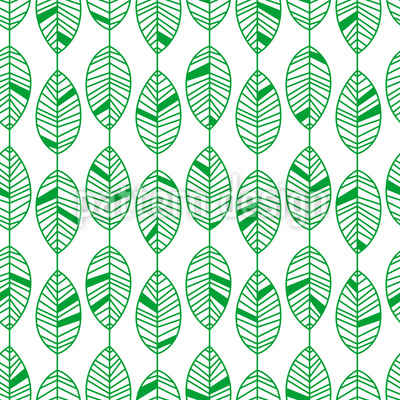 Stripe with Leaves Seamless Vector Pattern