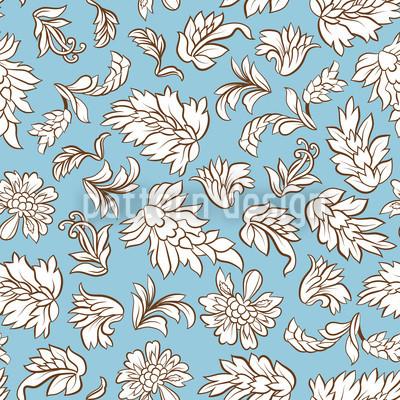 Blattwerk Hellblau Nahtloses Vektor Muster