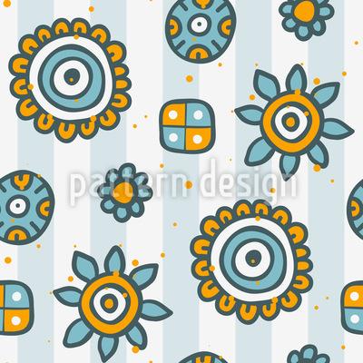 Doodle Blumen auf Streifen Rapport