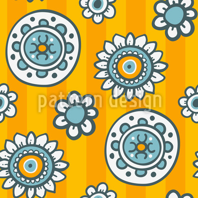 Flowers And Summer Stripes Seamless Pattern