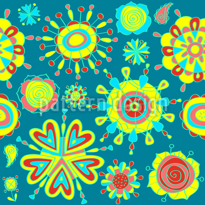 Funny Flowers Repeating Pattern