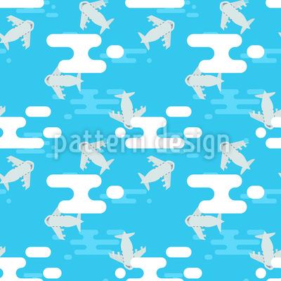 Fliegen mit Flugzeugen Nahtloses Vektor Muster