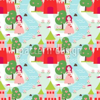 Girls Fairy Tale Vector Pattern