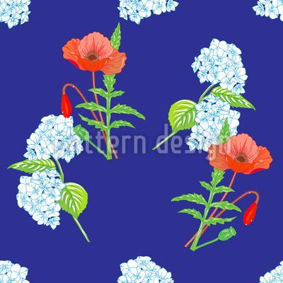 Hortensien und Mohnblumen Designmuster
