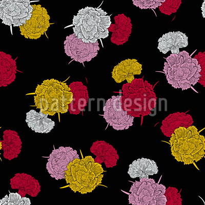 Nelken Bouquet Nahtloses Vektor Muster