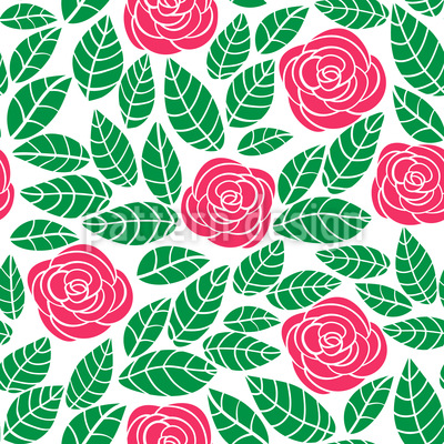 Modern Roses And Leaves Pattern Design