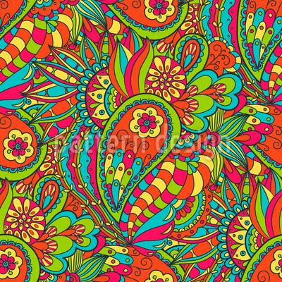 Floral Paisley Doodle Seamless Vector Pattern