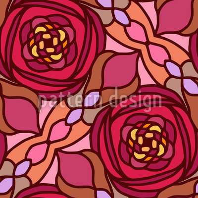 Glasmalerei Rosen Rapportmuster