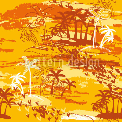 Paradise Island Yellow Repeating Pattern