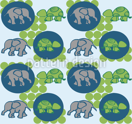 Of Turtles and Elephants Repeat Pattern