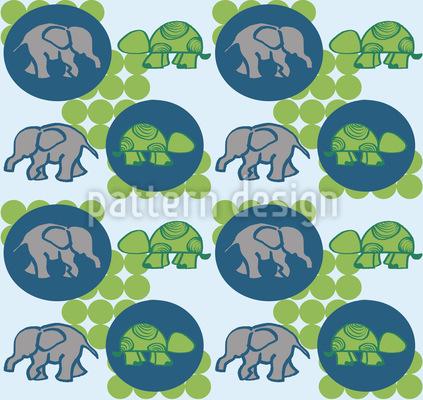 Schildkröten und Elefanten Rapportmuster