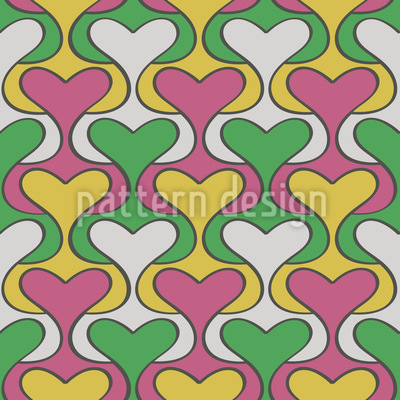 Heart Damask Pattern Design