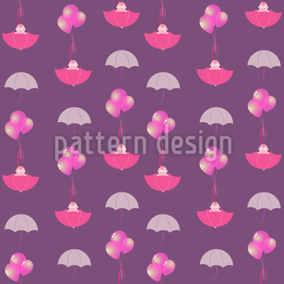 Baby Girls In Umbrellas Seamless Pattern