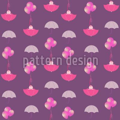 Baby Mädchen In Schirmen Nahtloses Muster
