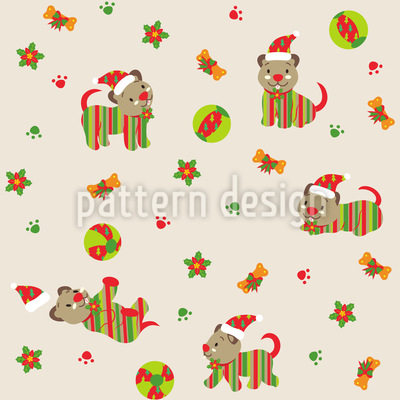 Christmas Dog Playing Design Pattern