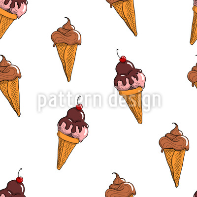 Ice Cream Cone Vector Pattern