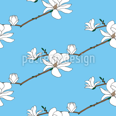 Blooming Magnolia Vector Pattern