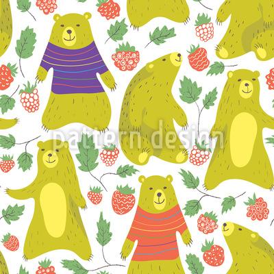 Bären lieben Himbeeren Nahtloses Muster