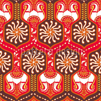 Oriental Corridors Red Pattern Design