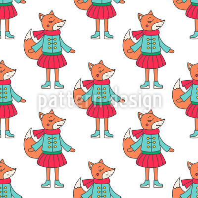 Fox in Winter Clothes Seamless Pattern