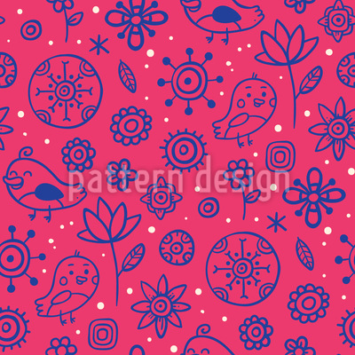 Birds Love Flowers Repeat Pattern