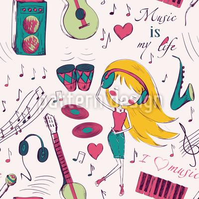 Mädchen Lieben Musik Vektor Design