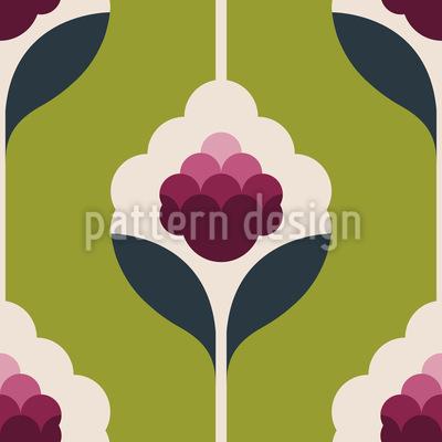Raspberry Flowers Seamless Pattern