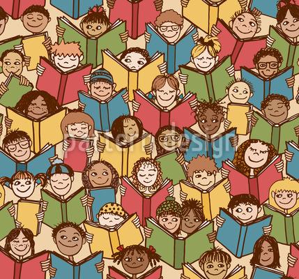 Kids Reading Books Pattern Design